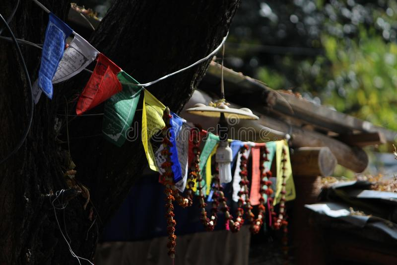 The prayer flags stock image