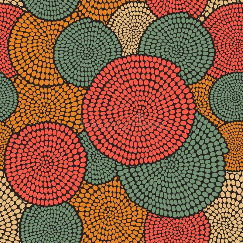 Traditioneel Afrikaans Ornament met wervelingen Naadloos vectorgeklets stock illustratie