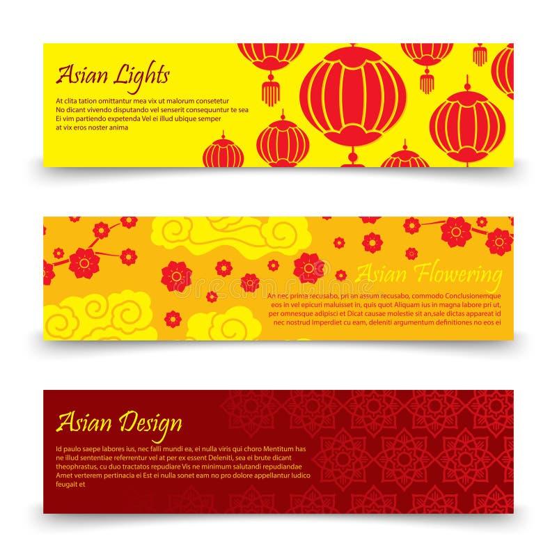Traditioneel Aziatisch bannersmalplaatje De vector Chinese, Japanse lichten en reeks van de bloemenbanner vector illustratie