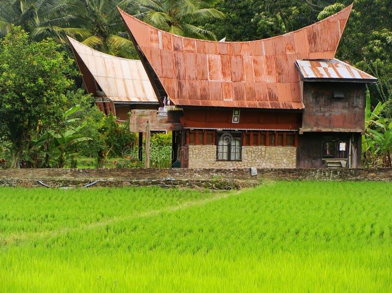 Traditioneel Batak-huis op Samosir-eiland, Sumatra, Indonesië stock afbeelding