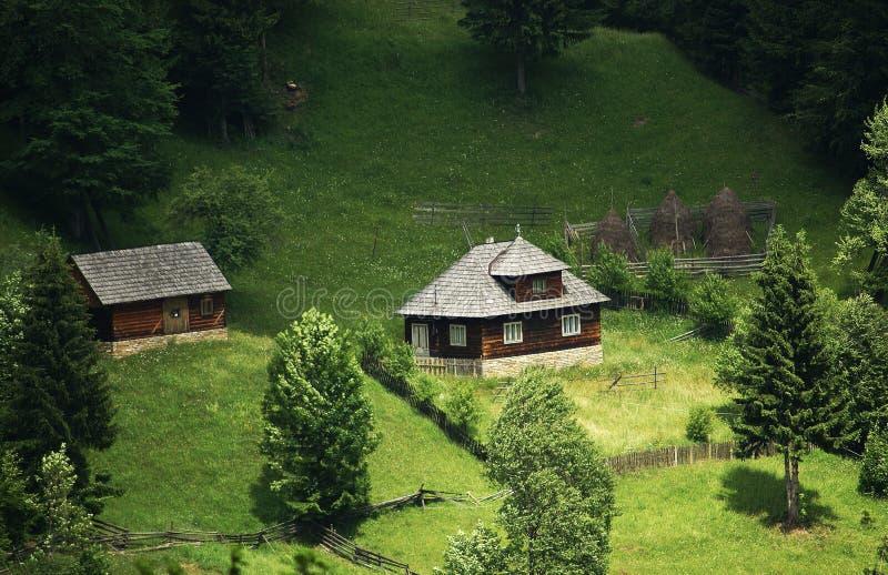 Traditioneel berghuishouden, Noord-Roemenië   stock fotografie