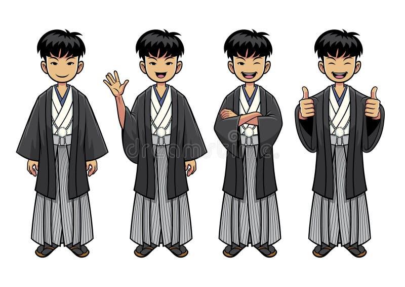 Traditioneel de mensenkarakter van Japan - reeks royalty-vrije illustratie