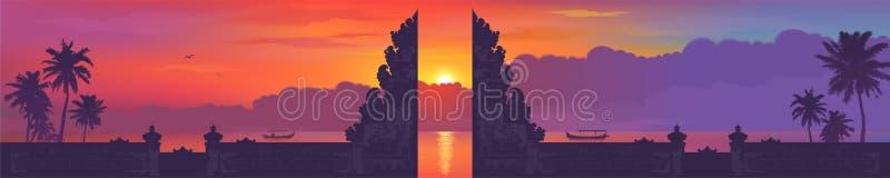 Traditioneel de poortsilhouet van Bali op zonsondergangstrand met palmen en vissersbotenachtergrond, vector Balinees panorama vector illustratie