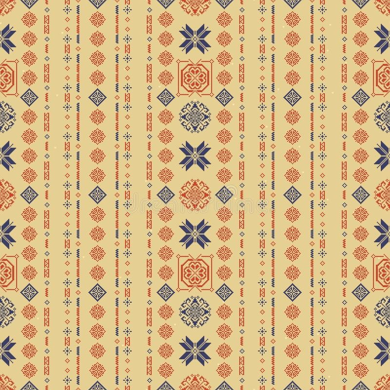 Traditioneel de Stijl Naadloos Breiend Patroon van Noorwegen Abstracte etnische achtergrond stock illustratie
