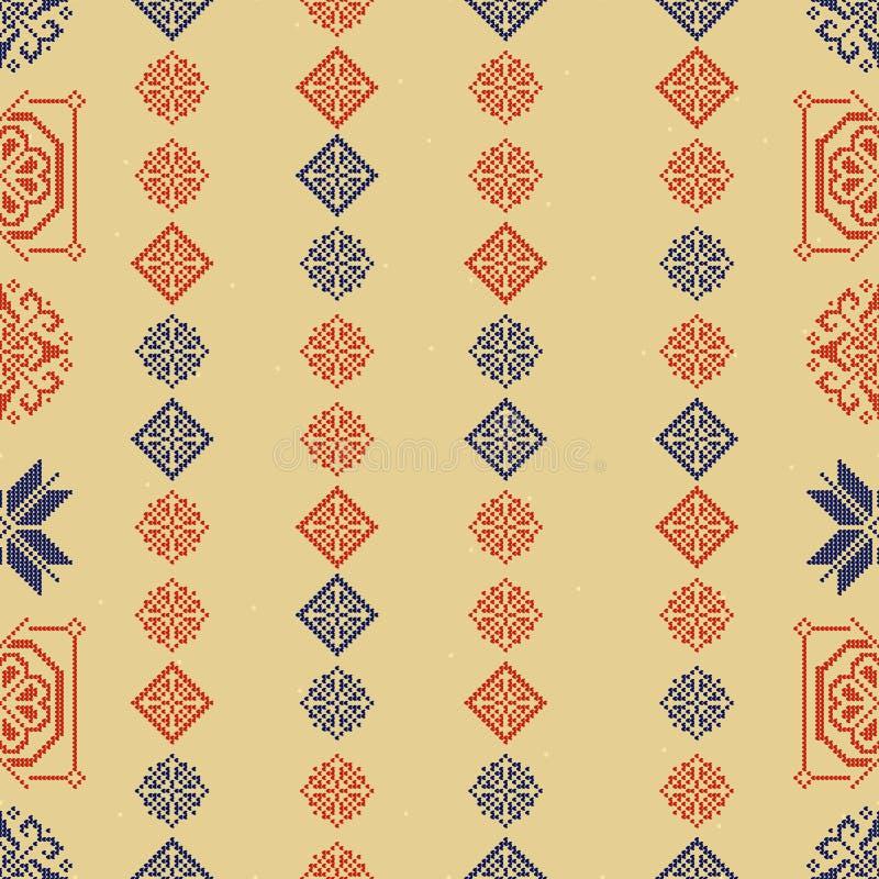 Traditioneel de Stijl Naadloos Breiend Patroon van Noorwegen Abstracte etnische achtergrond royalty-vrije illustratie