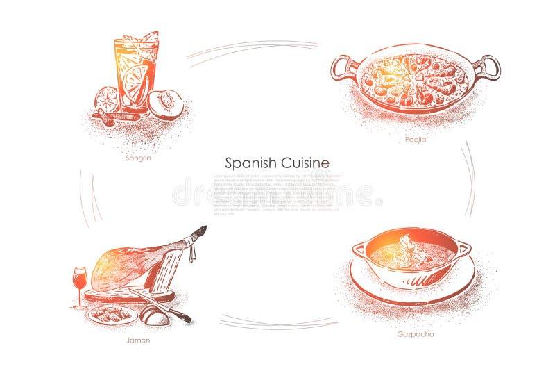 Traditioneel diner in Spanje, sangria, paella, jamon en gazpacho, nationale voedsel en drankenbanner royalty-vrije illustratie