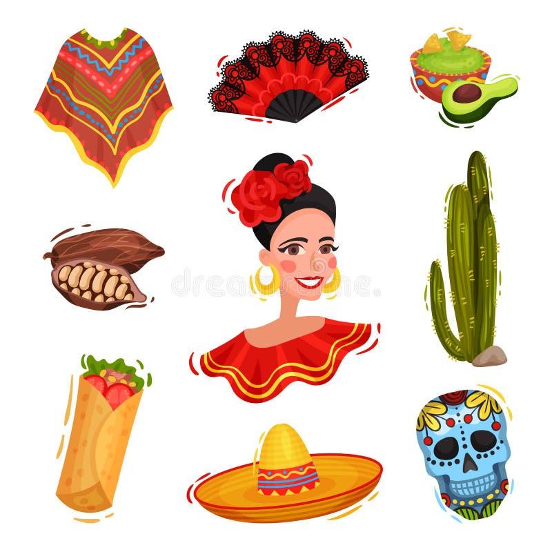 Traditioneel feestelijk Mexicaans gerei Nationale feestdagconcept royalty-vrije illustratie