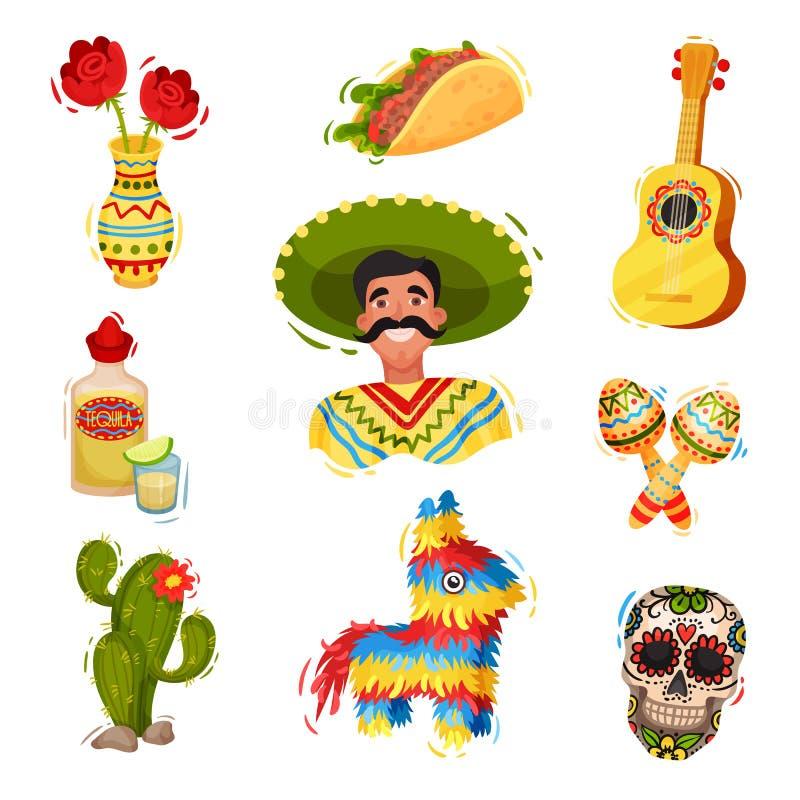Traditioneel feestelijk Mexicaans gerei Vector vlakke illustratie vector illustratie