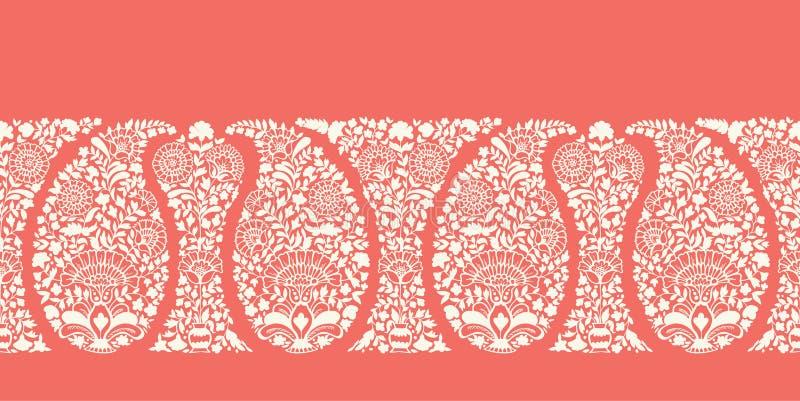 Traditioneel Gedetailleerd Coral Paisley Vector Seamless Horizontal-Grenspatroon Elegante klassieke achtergrond vector illustratie