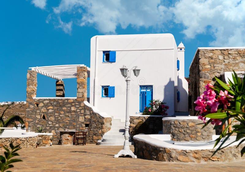 Traditioneel Grieks huis op Mykonos-eiland stock afbeelding