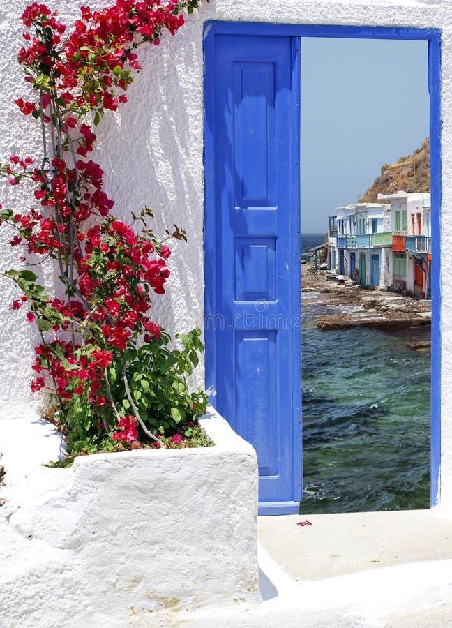 Traditioneel Grieks huis op Santorini-eiland royalty-vrije stock afbeeldingen