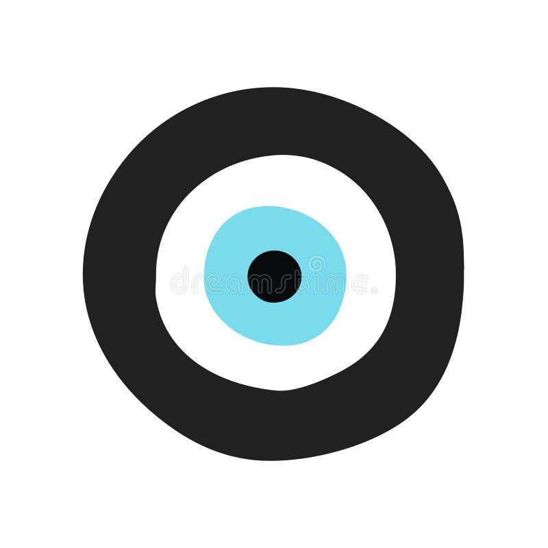 Traditioneel Grieks kwaad oog in zwarte en turkooise kleur vector illustratie