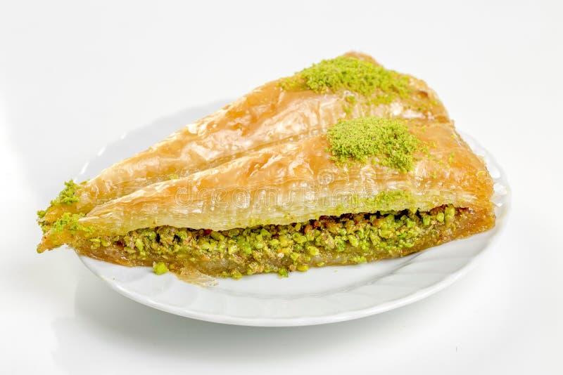 Traditioneel heerlijk Turks Dessert Baklava met conceptenachtergrond stock foto's