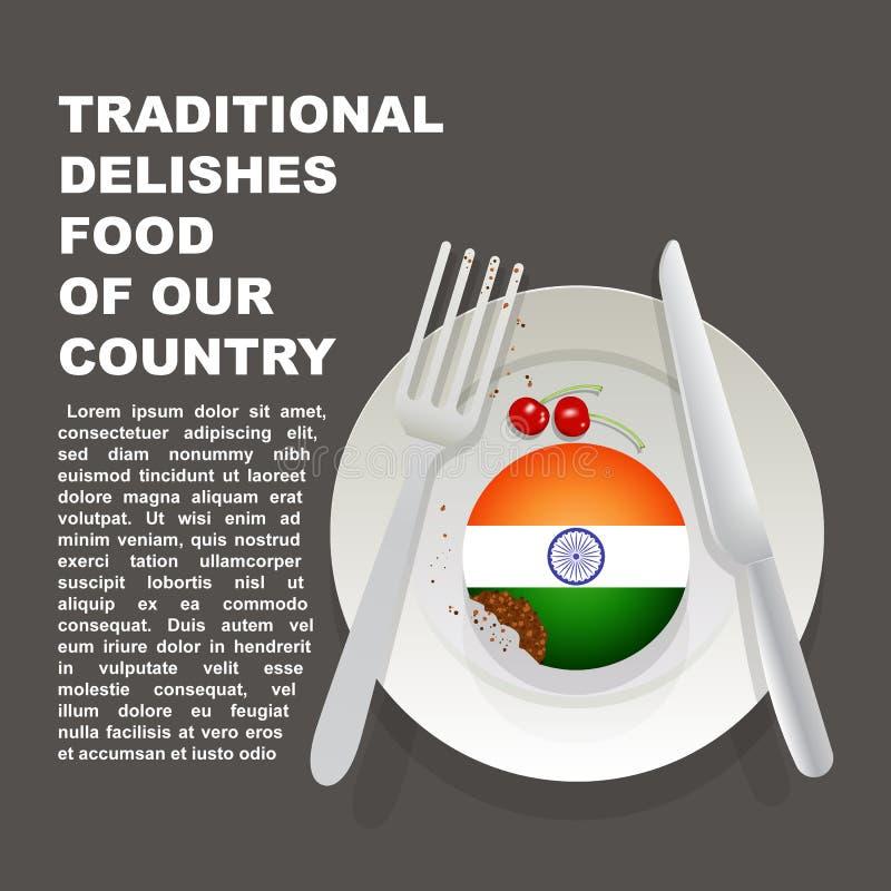 Traditioneel heerlijk voedsel van de affiche van het land van India Aziatisch nationaal dessert Vectorillustratiecake met nationa vector illustratie