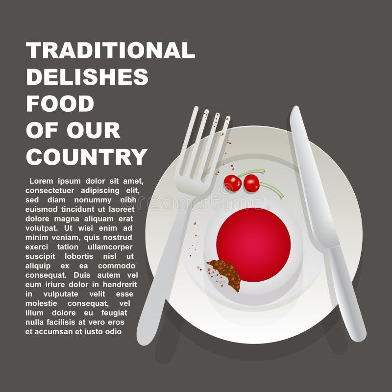 Traditioneel heerlijk voedsel van de affiche van het land van Japan Aziatisch nationaal dessert Vectorillustratiecake met nationa stock illustratie