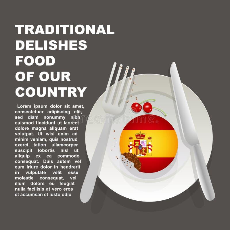 Traditioneel heerlijk voedsel van de affiche van het land van Spanje Europees nationaal dessert Vectorillustratiecake met nationa stock illustratie