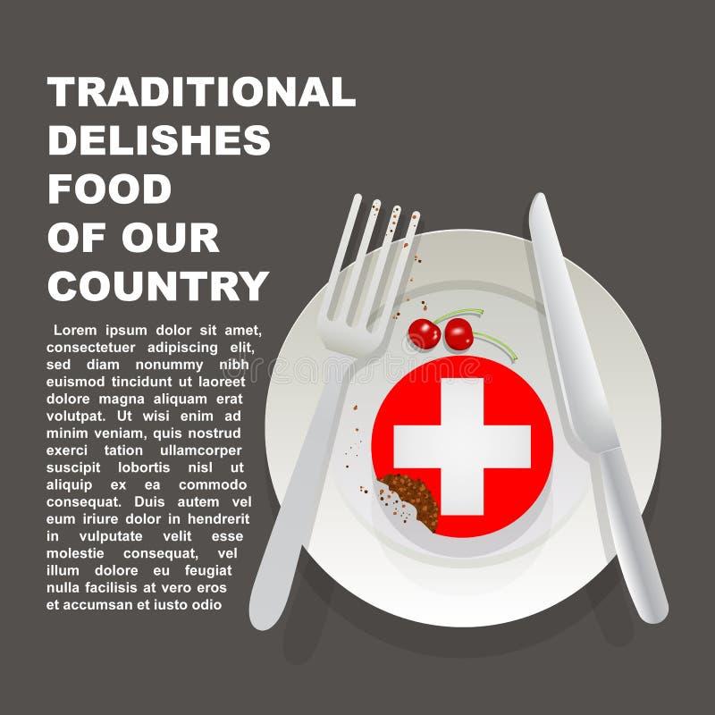 Traditioneel heerlijk voedsel van de affiche van het land van Zwitserland Europees nationaal dessert Vectorillustratiecake met na stock illustratie