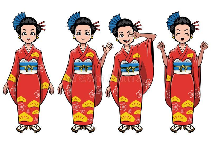 Traditioneel het meisjeskarakter van Japan - reeks royalty-vrije illustratie