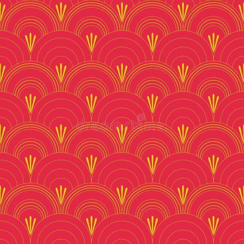 Traditioneel historisch oosters patroon in de vorm van een gestileerde golf Twee kleuren naadloze vector royalty-vrije illustratie