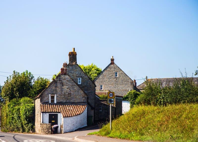 Traditioneel huis op Glastonbury-gebied, Wales, het Verenigd Koninkrijk stock afbeelding