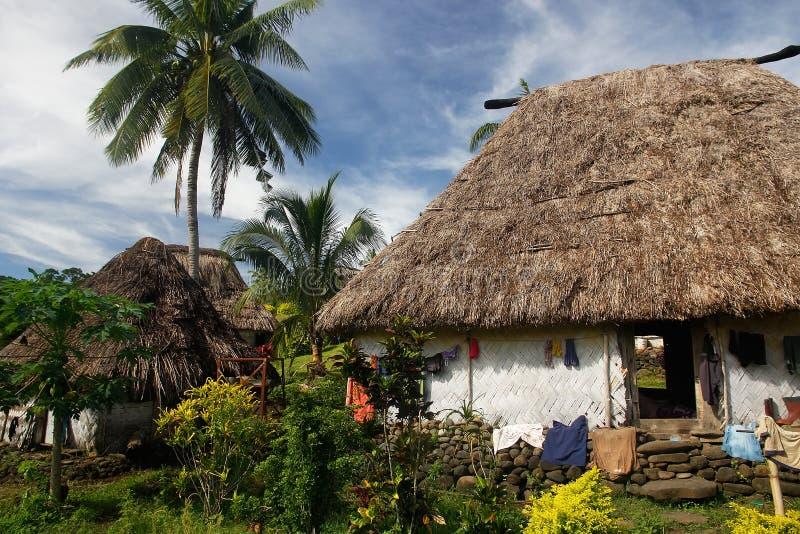 Traditioneel huis van Navala-dorp, Viti Levu, Fiji stock afbeelding