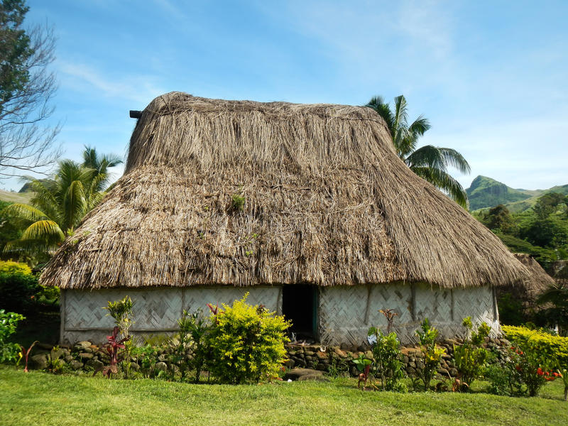 Traditioneel huis van Navala-dorp, Viti Levu, Fiji royalty-vrije stock fotografie