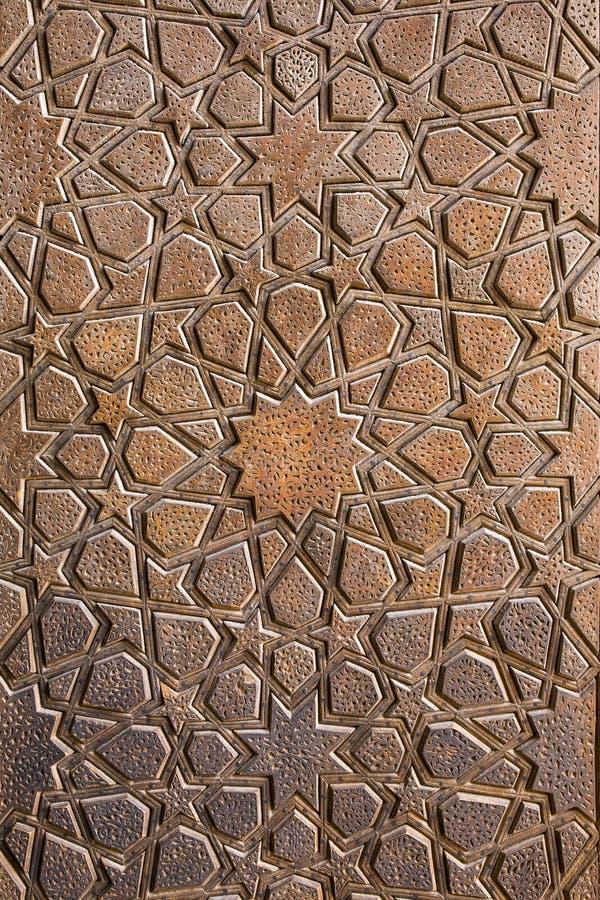 Traditioneel Iraans ornament op houten deur royalty-vrije stock afbeelding