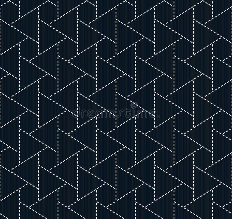 Traditioneel Japans Borduurwerk Sashiko Naadloos patroon stock illustratie