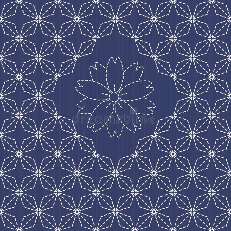 Traditioneel Japans Borduurwerkornament met ruiten en sakurabloem royalty-vrije illustratie