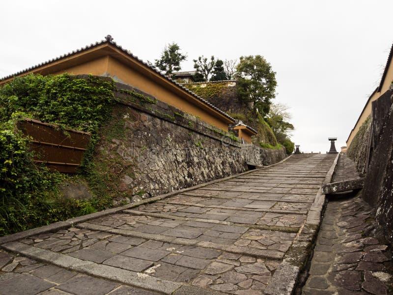 Traditioneel Japans huis in historische kasteelstad van Kitsuki stock afbeeldingen