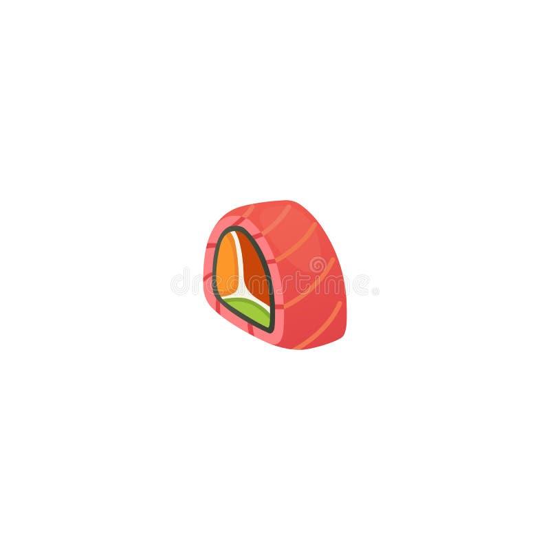 Traditioneel Japans sushi en broodje Aziatische zeevruchten, restaurant heerlijke vectorillustratie vector illustratie