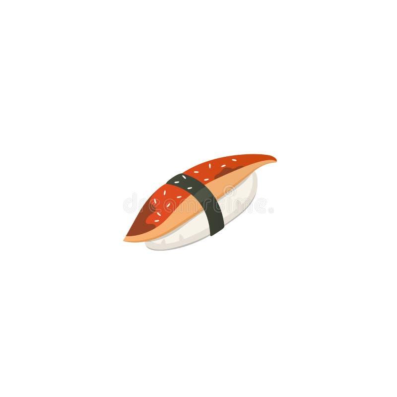 Traditioneel Japans sushi en broodje Aziatische zeevruchten, restaurant heerlijke vectorillustratie stock illustratie