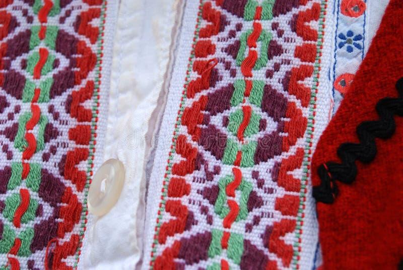 Traditioneel Macedonisch kostuum, details stock afbeeldingen