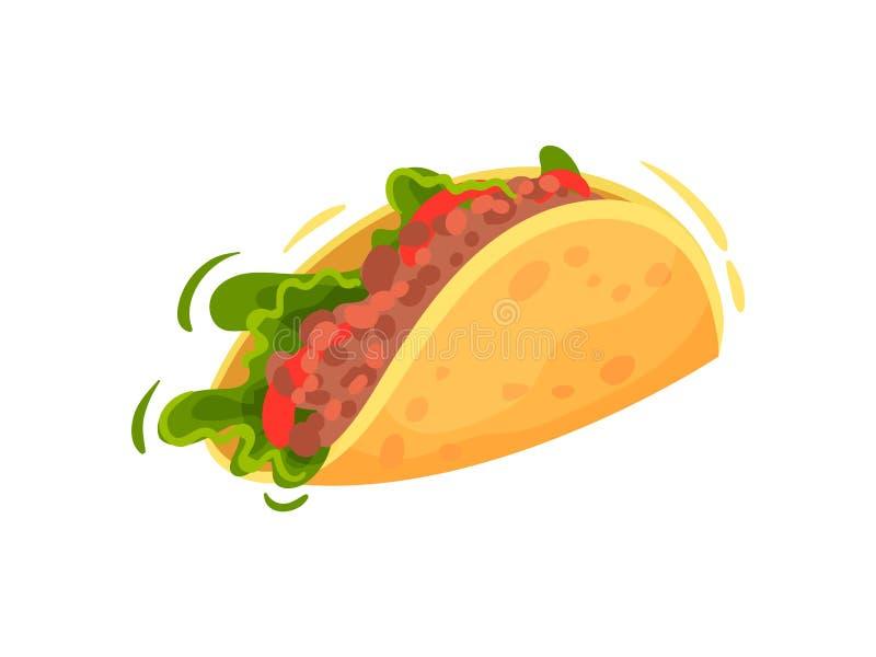 Traditioneel Mexicaans voedsel op witte achtergrond Tacoconcept royalty-vrije illustratie