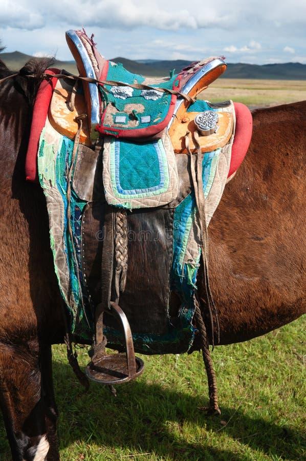 Traditioneel Mongools paardzadel royalty-vrije stock afbeelding