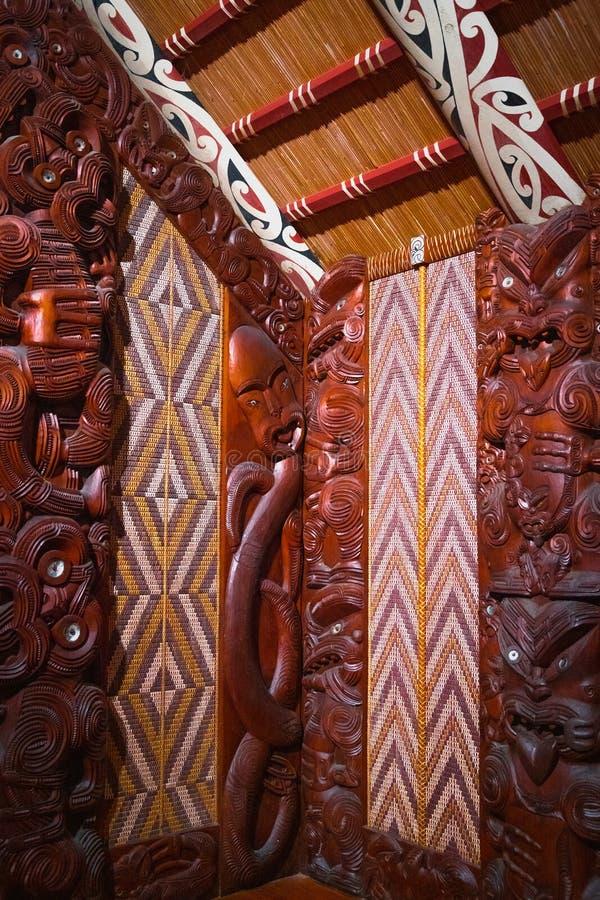Traditioneel Nieuw Zeeland Maori Wood Carving royalty-vrije stock afbeelding
