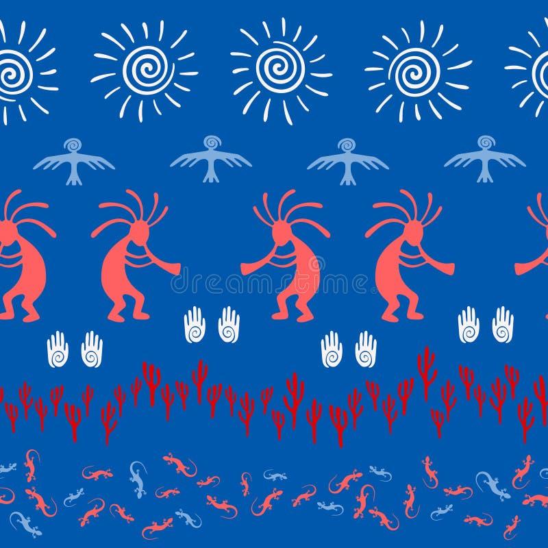 Traditioneel, ontwerp met bedriegergod, wervelingspictogrammen op menselijke palm, zon, adelaar royalty-vrije illustratie