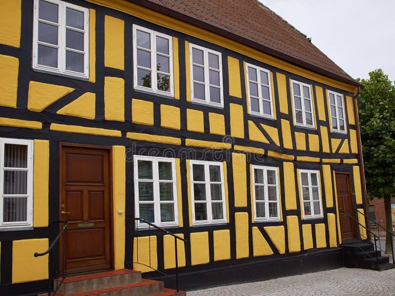 Traditioneel oud klassiek stijl Deens huis Middelfart Denemarken stock foto