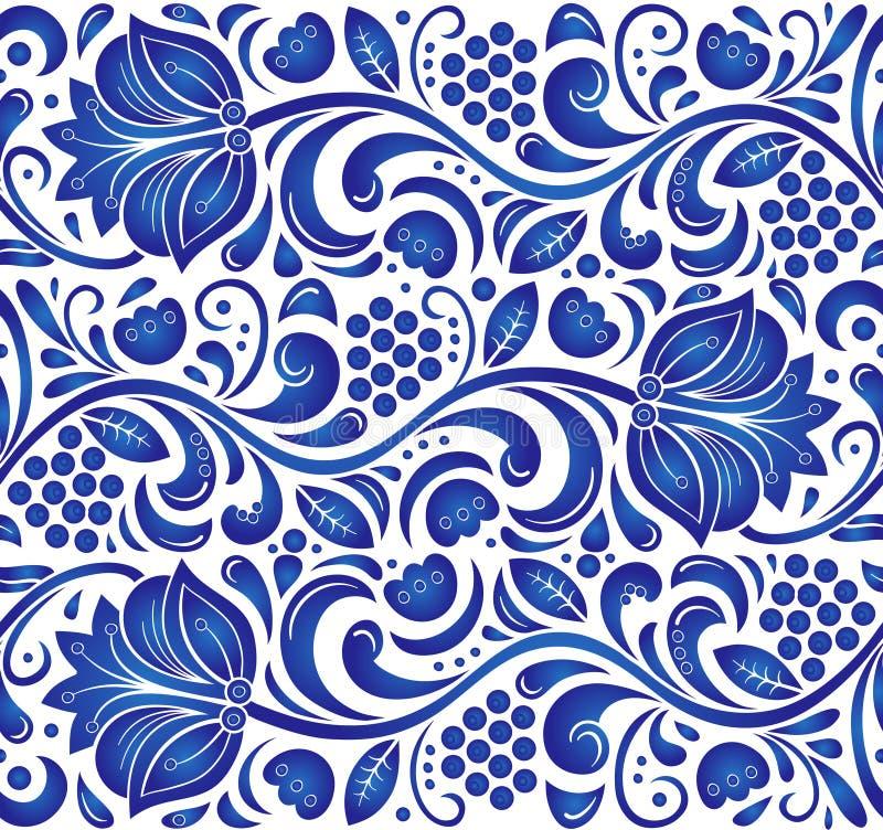 Traditioneel Russisch vector naadloos patroon in gzhelstijl Kan voor banner, kaart, affiche, uitnodiging, etiket enz. worden gebr stock illustratie