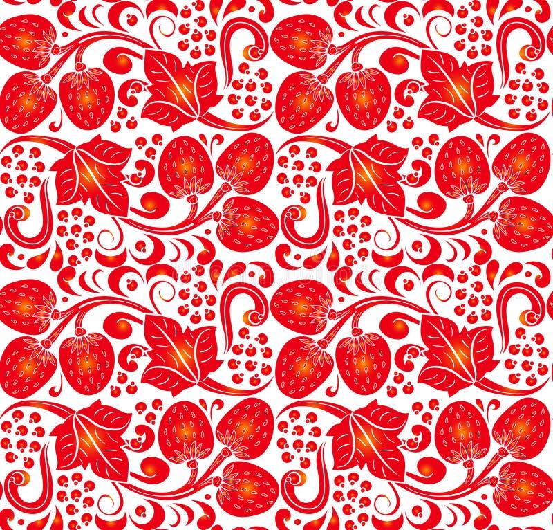 Traditioneel Russisch vector naadloos patroon in khokhlomastijl Kan voor banner, kaart, affiche, uitnodiging enz. worden gebruikt royalty-vrije illustratie