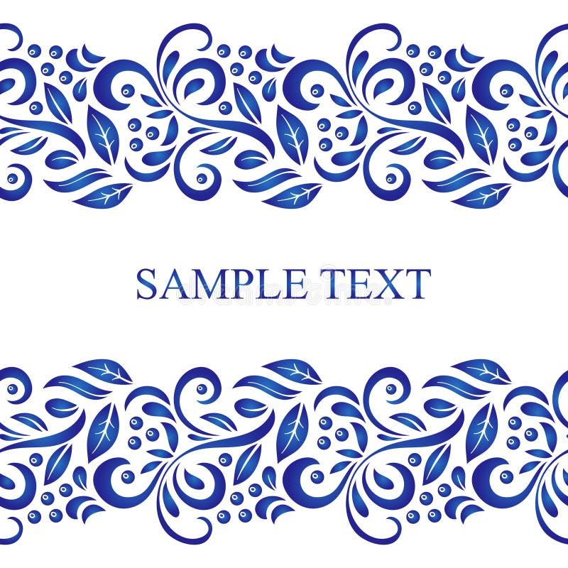 Traditioneel Russisch vector naadloos patroonkader in gzhelstijl Kan voor banner, kaart, affiche, uitnodiging enz. worden gebruik stock illustratie