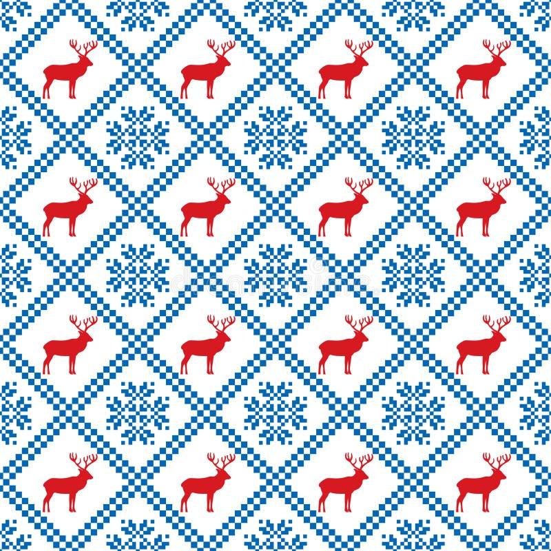 Traditioneel Skandinavisch patroon Noordse etnische naadloze achtergrond royalty-vrije illustratie