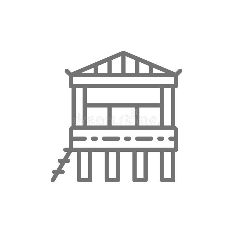 Traditioneel strandhuis op water, het pictogram van de bungalowlijn royalty-vrije illustratie