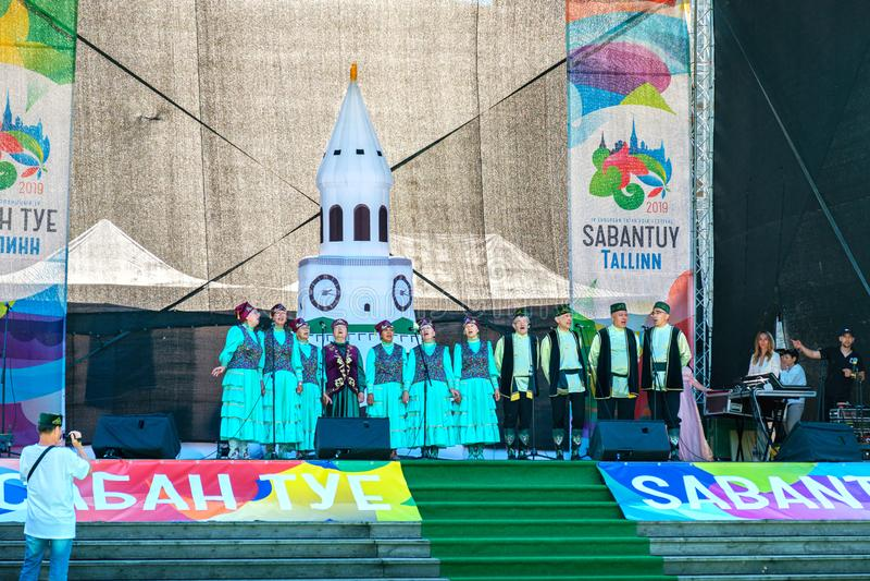 Traditioneel tatar festival Sabantuy Tallinn, Estland stock afbeelding