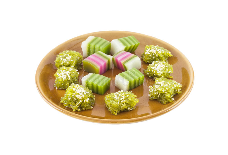 Traditioneel Thais die Dessert op Plaat op Witte Achtergrond wordt geïsoleerd royalty-vrije stock foto's