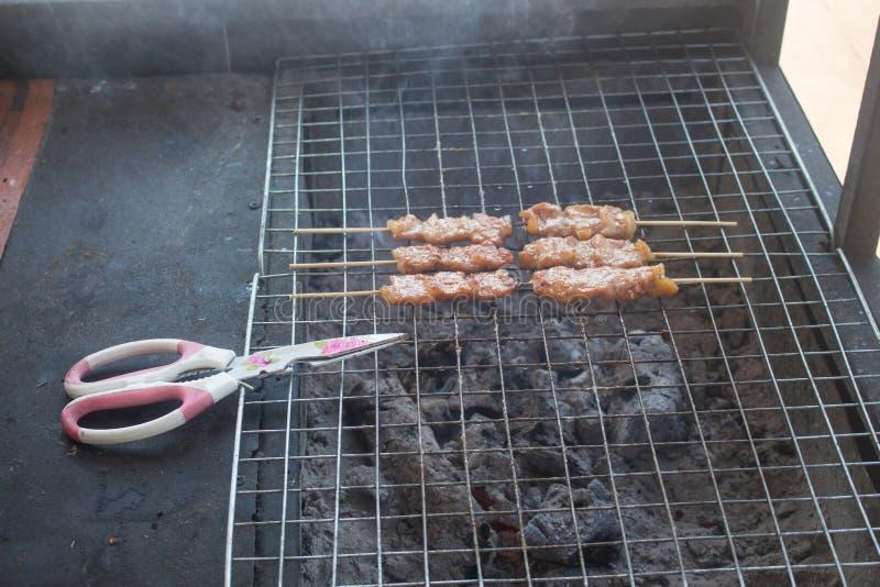 Traditioneel Thais lapje vlees geroosterd varkensvlees, Thailand stock foto