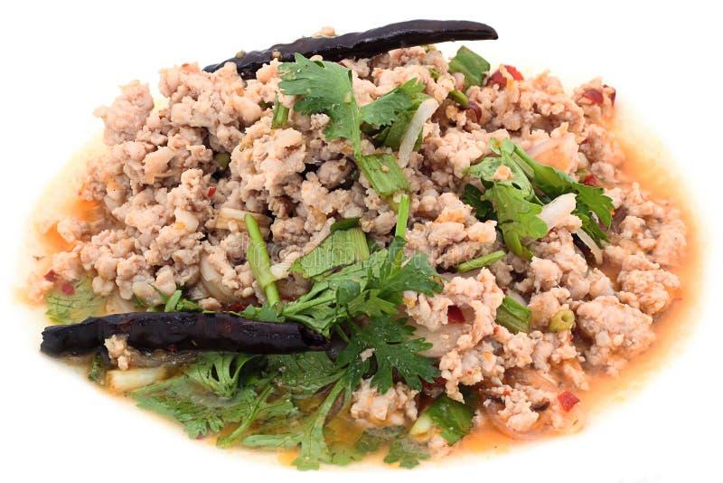 Traditioneel Thais voedsel (kruidig gehakt sald) stock foto's
