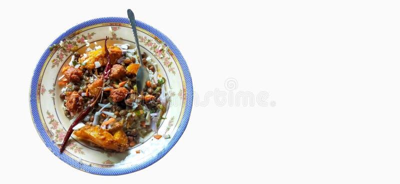 Traditioneel voedsel in de sylhet van bangladesh op witte achtergrond stock foto's