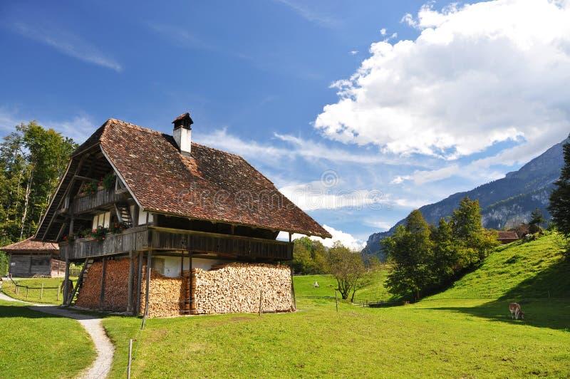 Traditioneel Zwitsers buitenhuis stock afbeelding