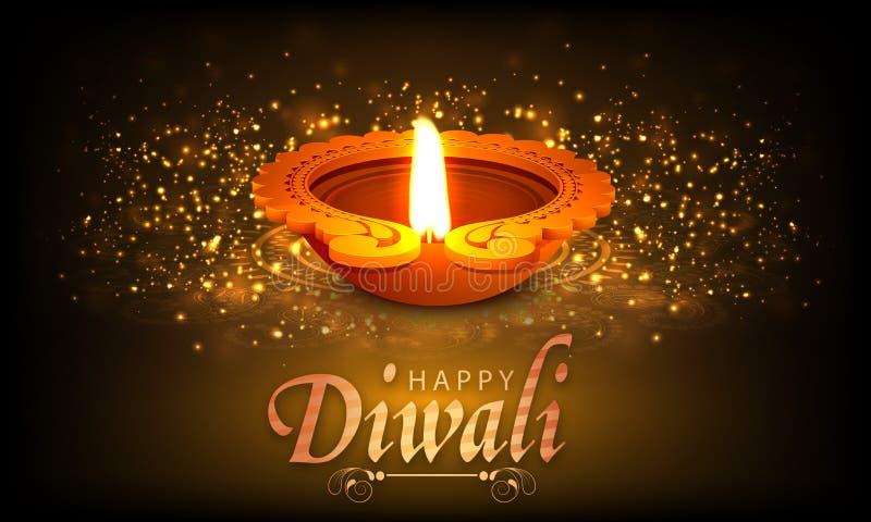 Traditionele aangestoken lamp voor Gelukkige Diwali-viering royalty-vrije illustratie